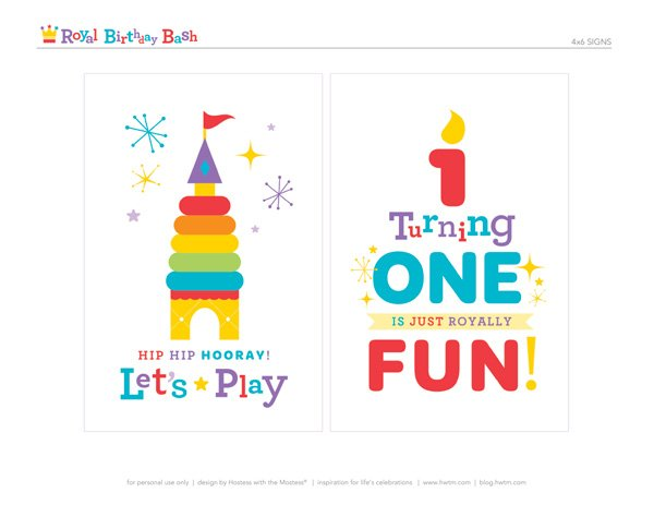 free royal birthday printables by HWTM - 4x6 signs