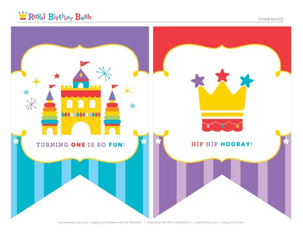 free royal birthday printables from HWTM - chair banners