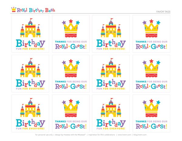 free royal birthday printables from HWTM - Favor Tags