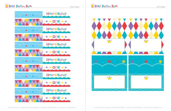 free royal birthday printables from HWTM - Party Flags and Tent Cards