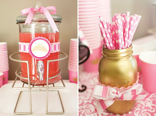 royal pink party drinks table