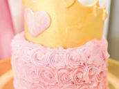 royal princess crown topped pink swirl smash cake