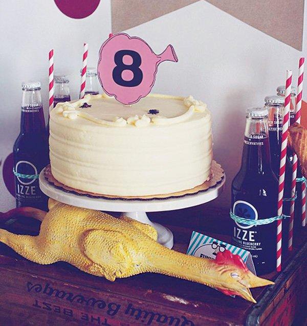 rubber chicken decorated birthday cake
