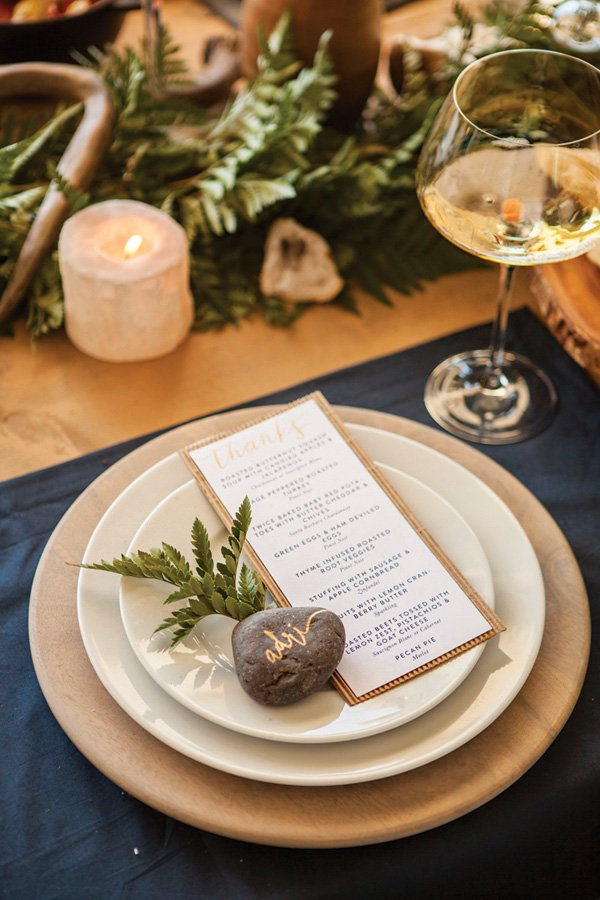 rustic holiday place setting and place card rock