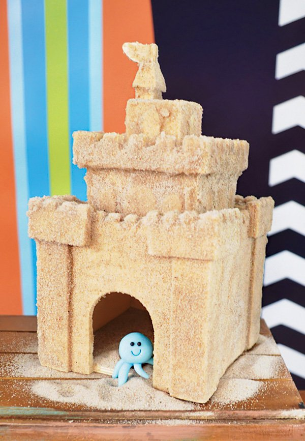 sand castle birthday party cake