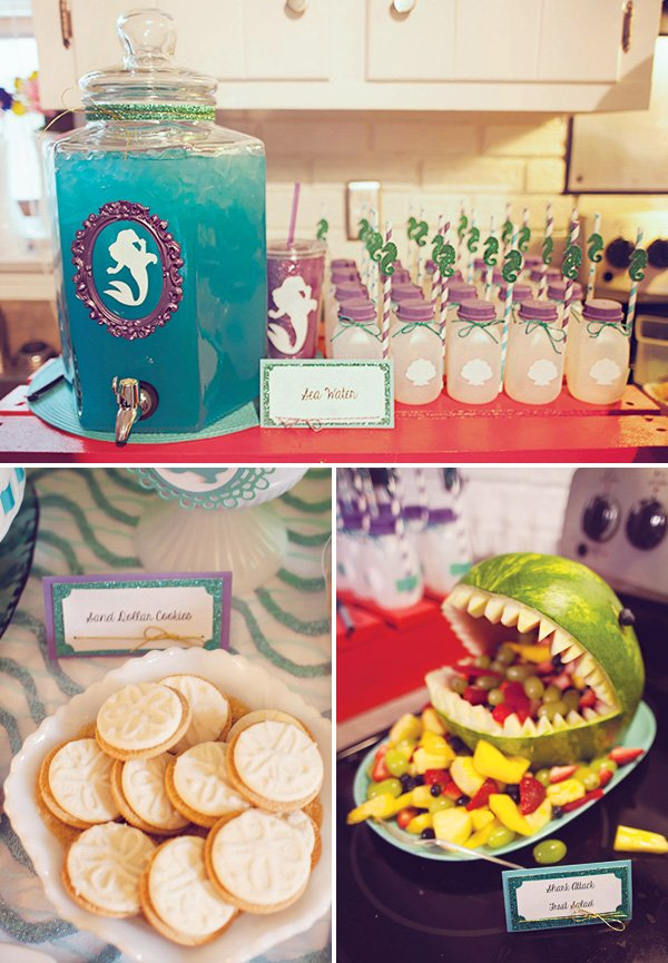 shark watermelon fruit salad and sand dollar cookies