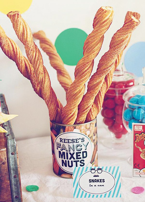 snakes in a can churros party idea