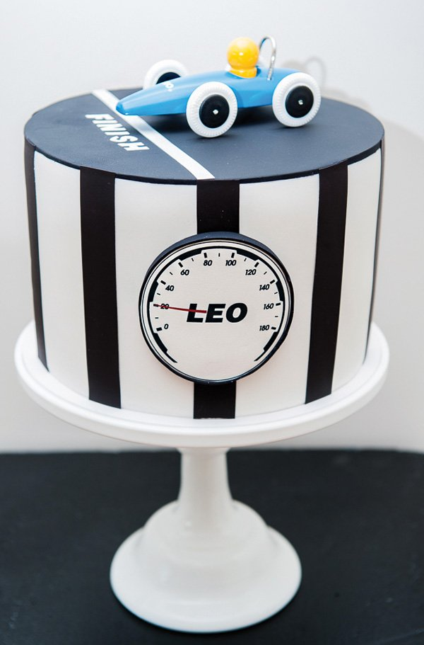 speedometer and racing stripe birthday cake