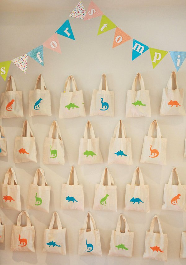 stamped dinosaur tote bag party favors