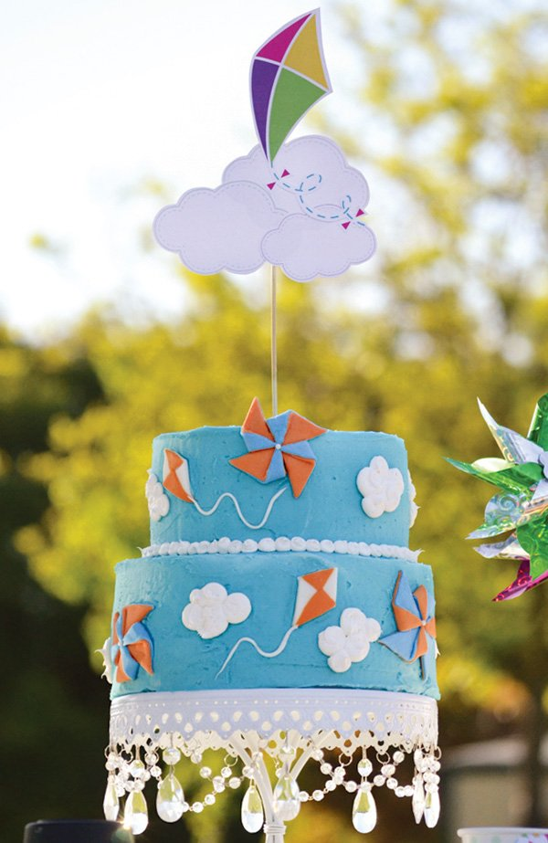 summer kites and pinwheels decorated birthday cake