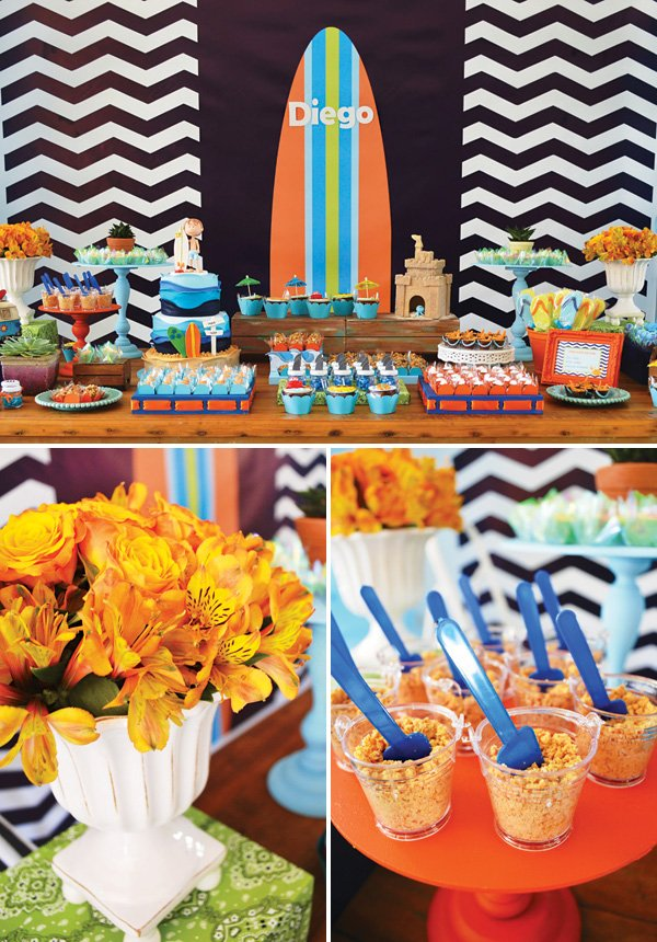 surfing birthday party dessert table