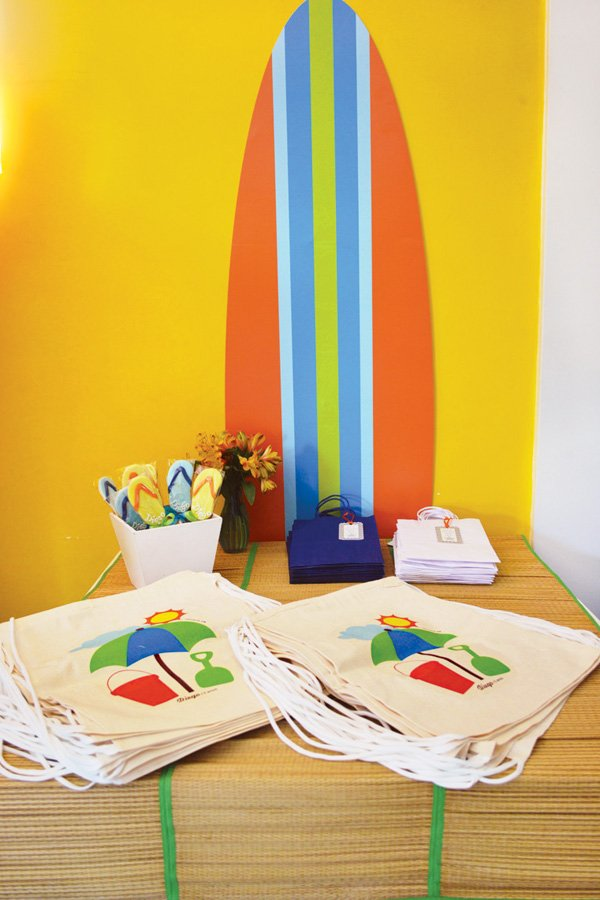 beach tote bag party favors at a surfing birthday party