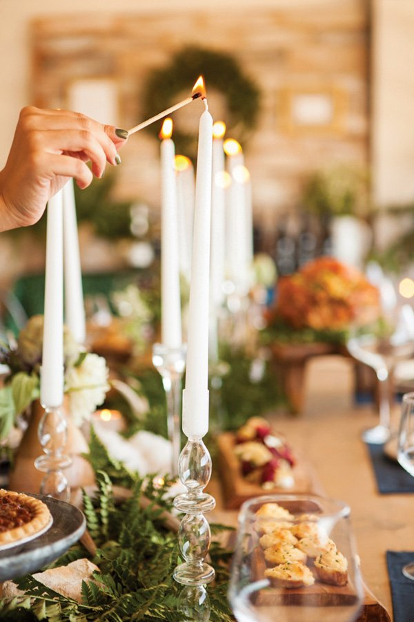 tall white candle centerpieces