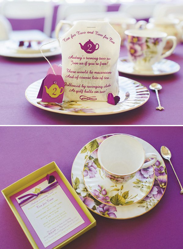 screenprinted tea bag birthday party invitation