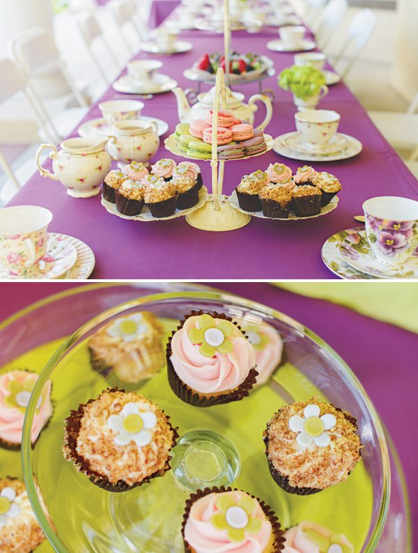 tea party birthday tablescape and desserts