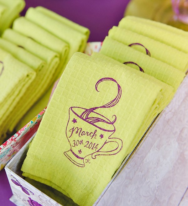custom printed tea party tea towel favor