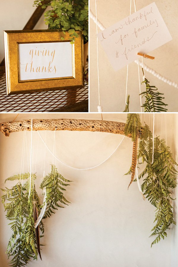 a rustic display for writing down what you're thankful for at christmas or thanksgiving