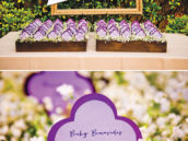 a wedding's purple name cards for place settings