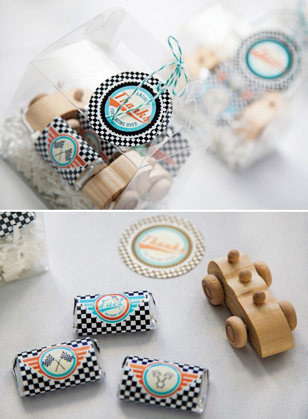 wooden race car toy party favors