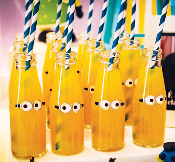 yellow minion birthday party drinks