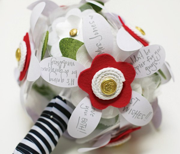 striped wedding bouquet wrap with hand-written wishes on the fabric petals
