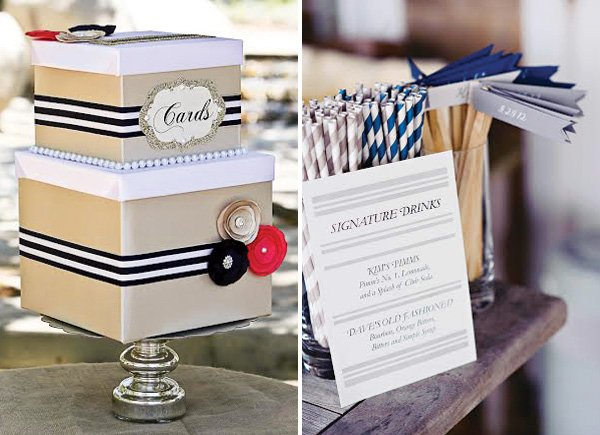 striped wedding details inspiration