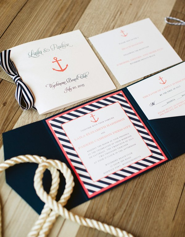 nautical striped wedding invitation and stationery