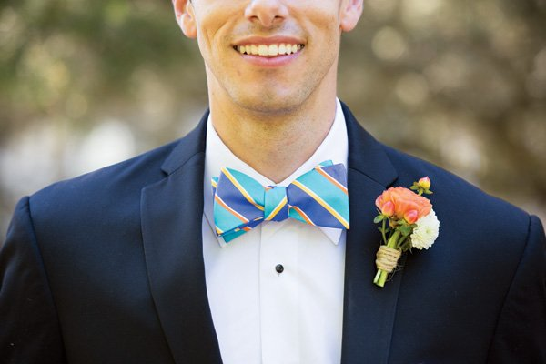 striped groom's bow-tie