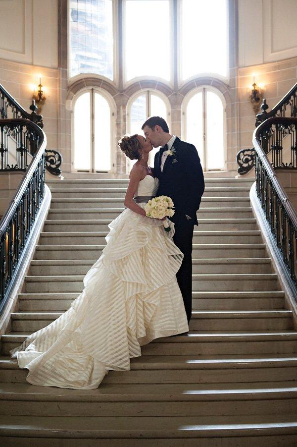 white striped wedding dress