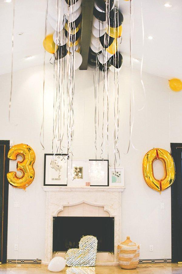 gold 30th birthday mylar balloons