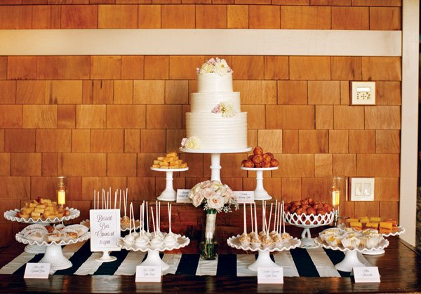wedding dessert table with striped details