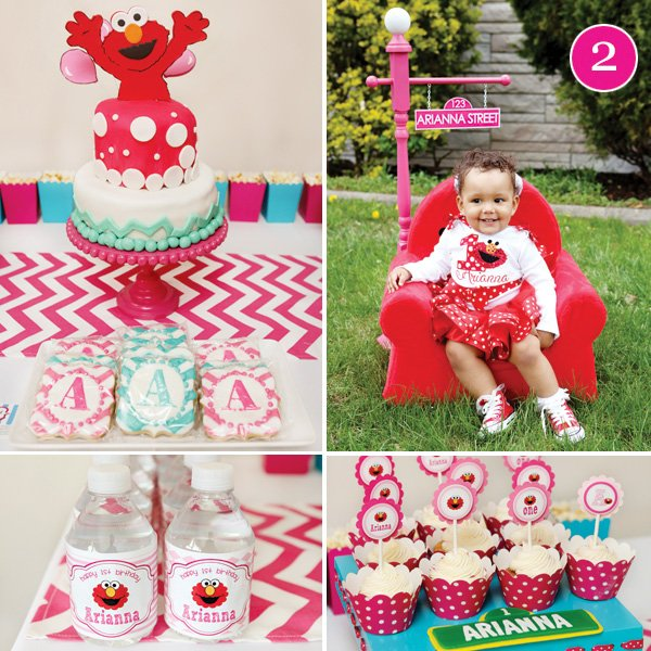 aqua and pink elmo first birthday party