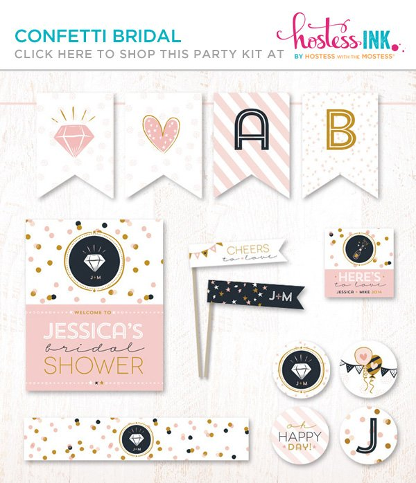 confetti bridal shower party paper