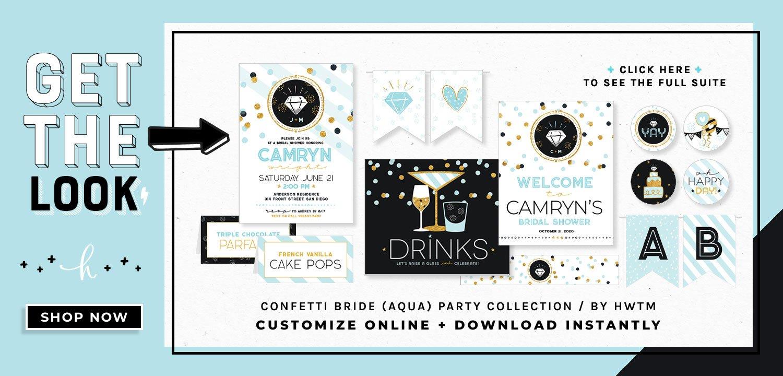 Confetti Bride Aqua Printables
