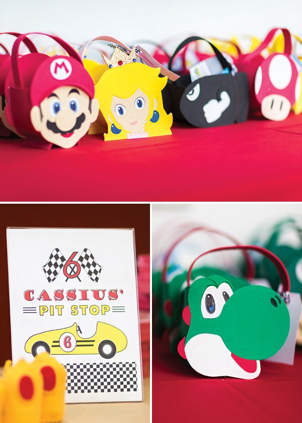 DIY mario kart character party favor bags