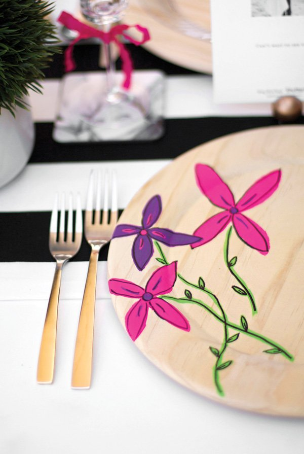 DIY floral painted plate chargers