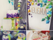 geometric rock climbing birthday party