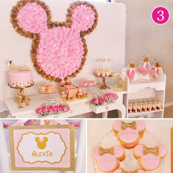 pink and gold minnie mouse birthday party
