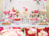 prink rose christening dessert table