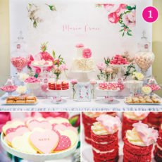 prink rose christening dessert table