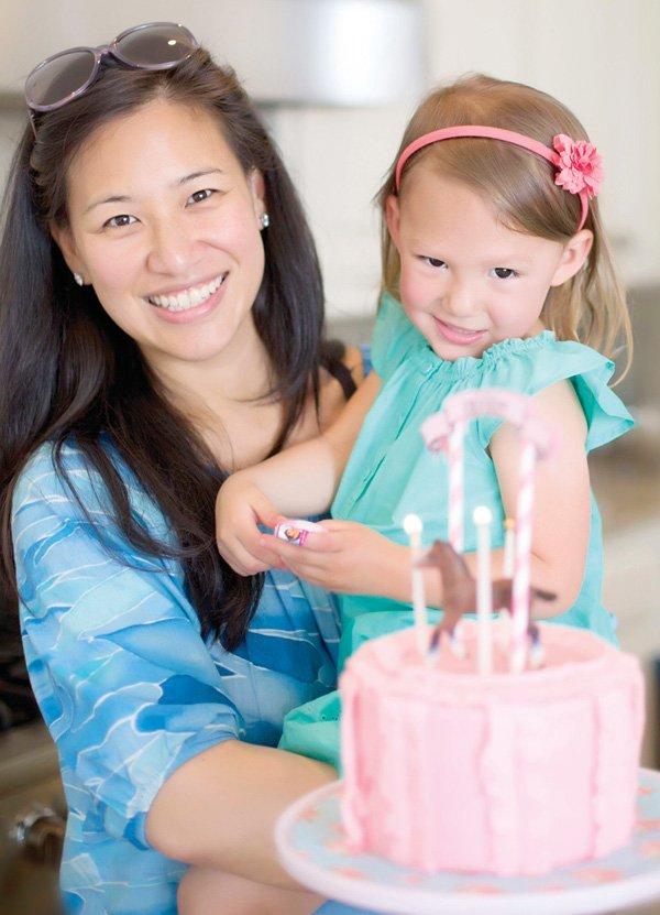 birthday girl and her cake photo