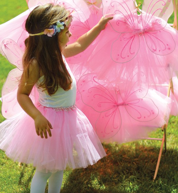 pink birthday party tutus and fairy wings