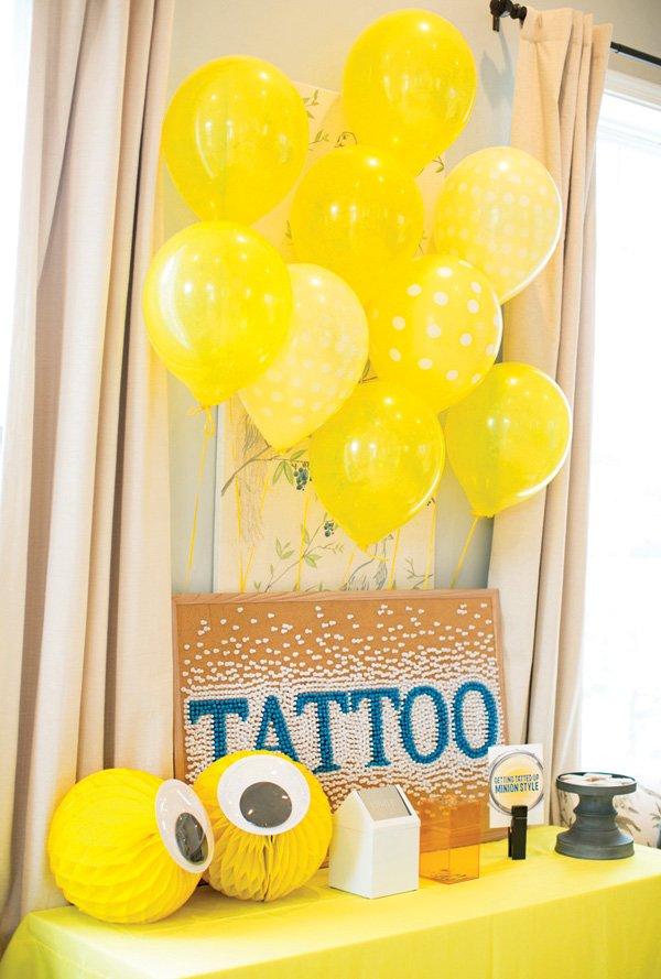 birthday party temporary tattoo station