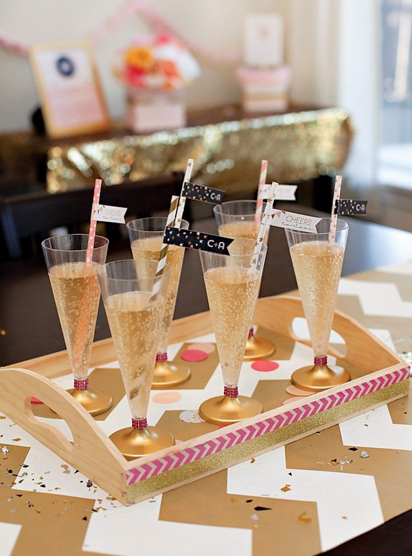 bridal shower champagne toast - pink and gold