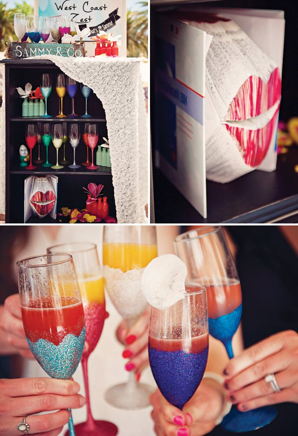 DIY glittered champagne flutes for a bridal shower mimosa bar
