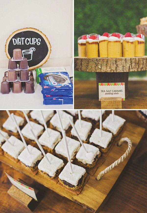 camping birthday party dessert ideas like s'more on a stick