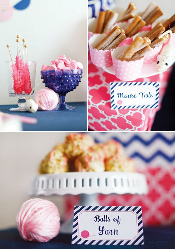 balls of yard rice krispies and orher cat party snack ideas