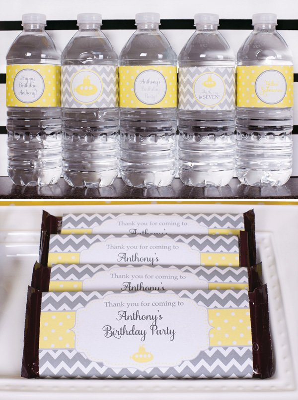 chevron yellow and gray party printables
