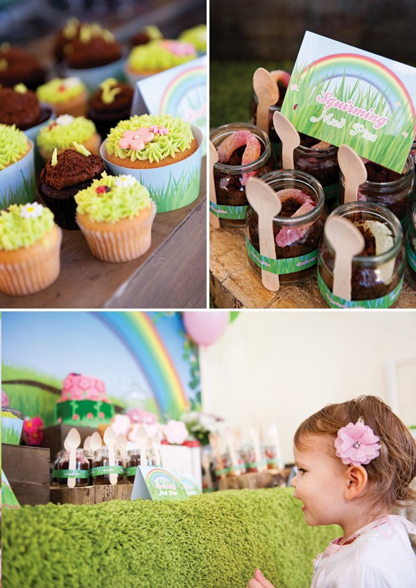 chocolate dirt mud pots and garden cupcakes