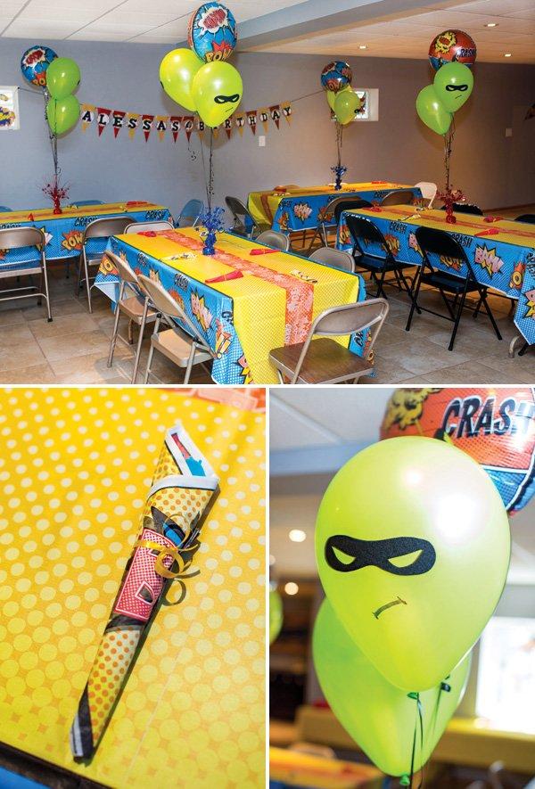 comic book hero party tablescape